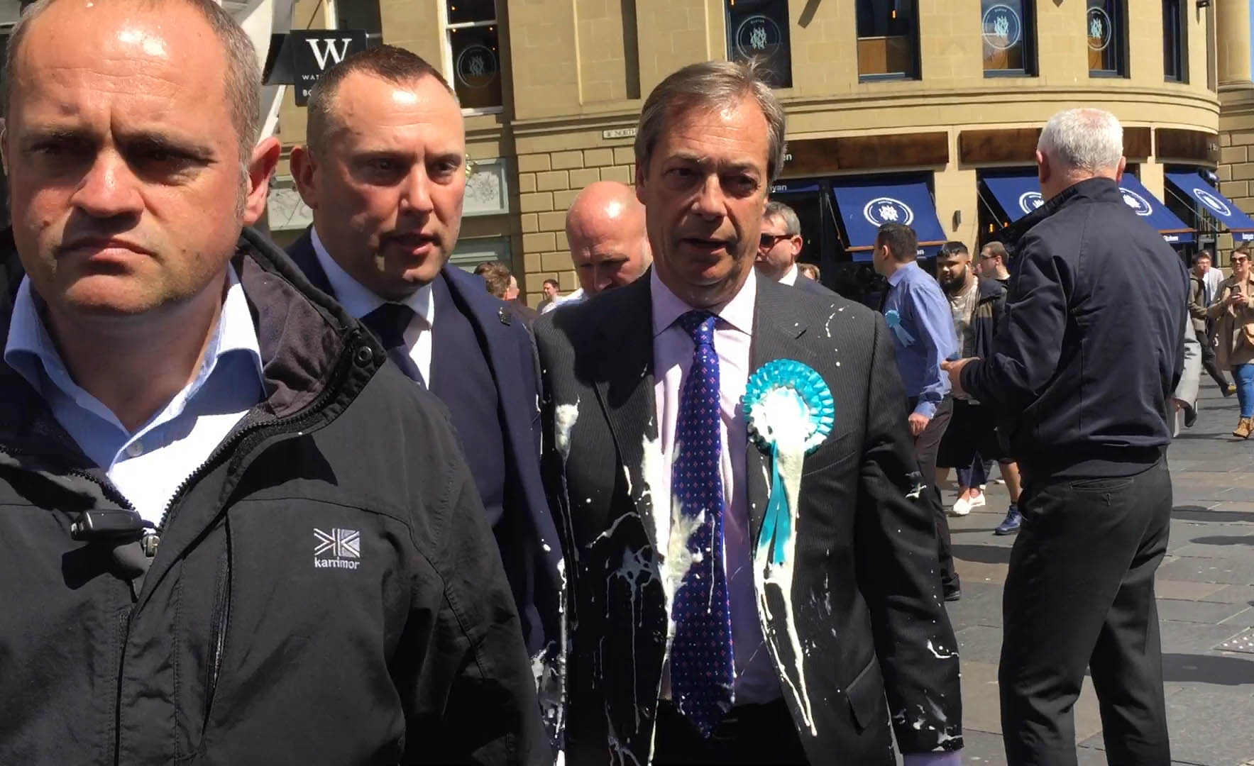 The Brexit Party leader was covered in milkshake by a protester in Newcastle. Credit: PA