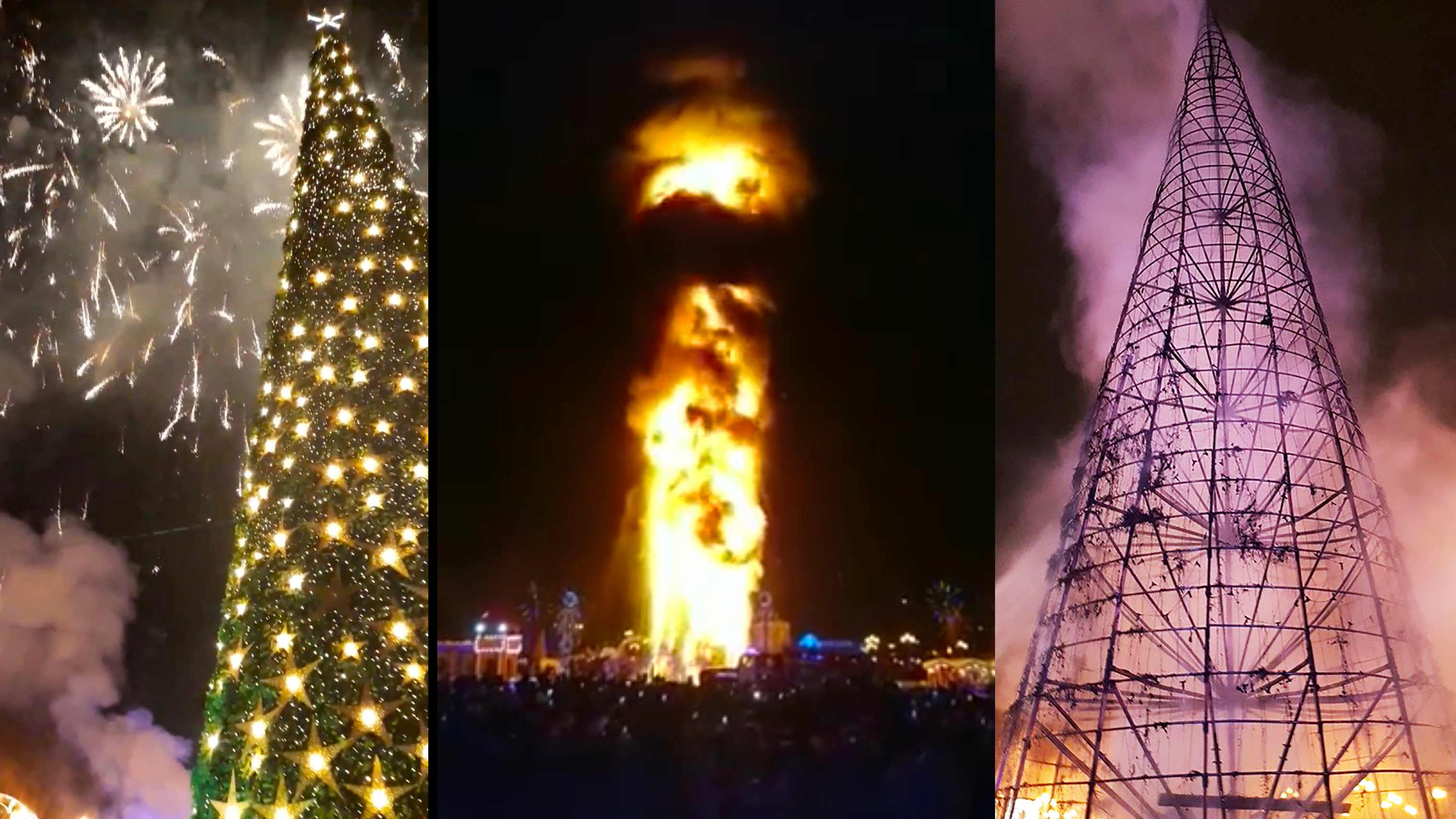 An 80ft Christmas Tree Burned Down In Minutes In Russia