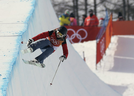 Elizabeth Swaney during her halfpipe run. Credit PA