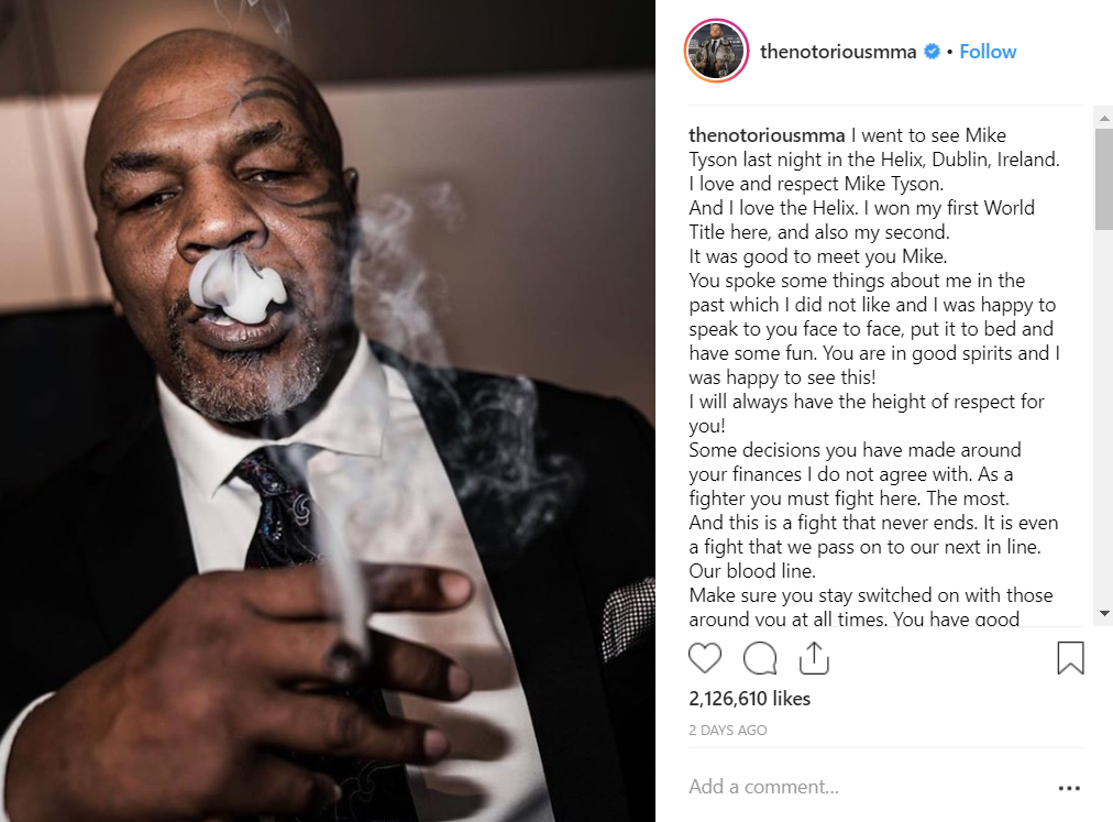 It seems Conor McGregor enjoyed Mike Tyson's cannabis. Credit: Instagram/Conor McGregor