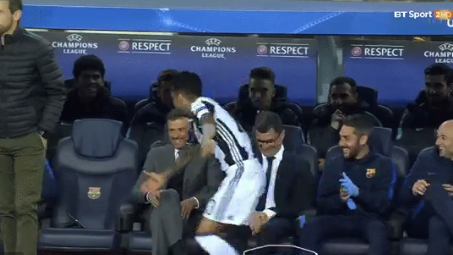 WATCH: Dani Alves Miss Kick-Off Because He Was Messing About With The Barca Bench
