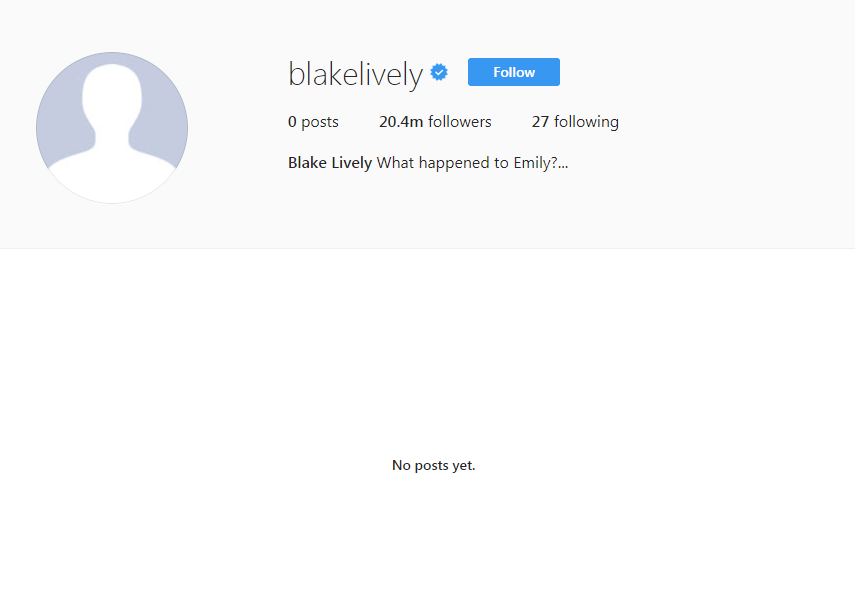 Blake Lively is now following 27 people named Emily Nelson on Instagram