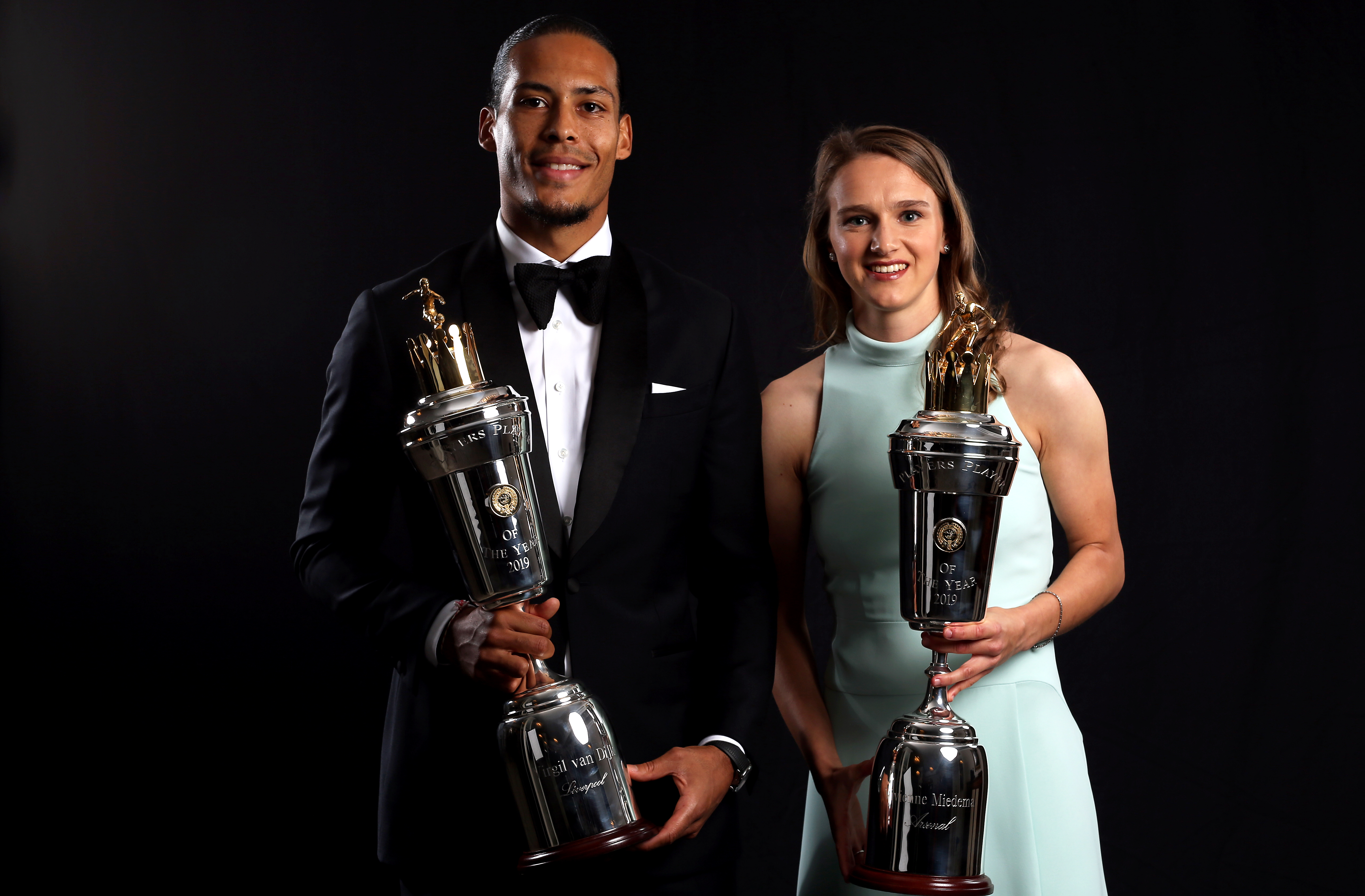 PFA Player of the Year winners Virgil van Dijk and Vivianna Miedema