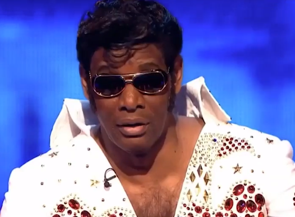 Shaun 'The Dark Destroyer' Wallace also dressed up as Elvis for The Chase Christmas special. Credit: ITV