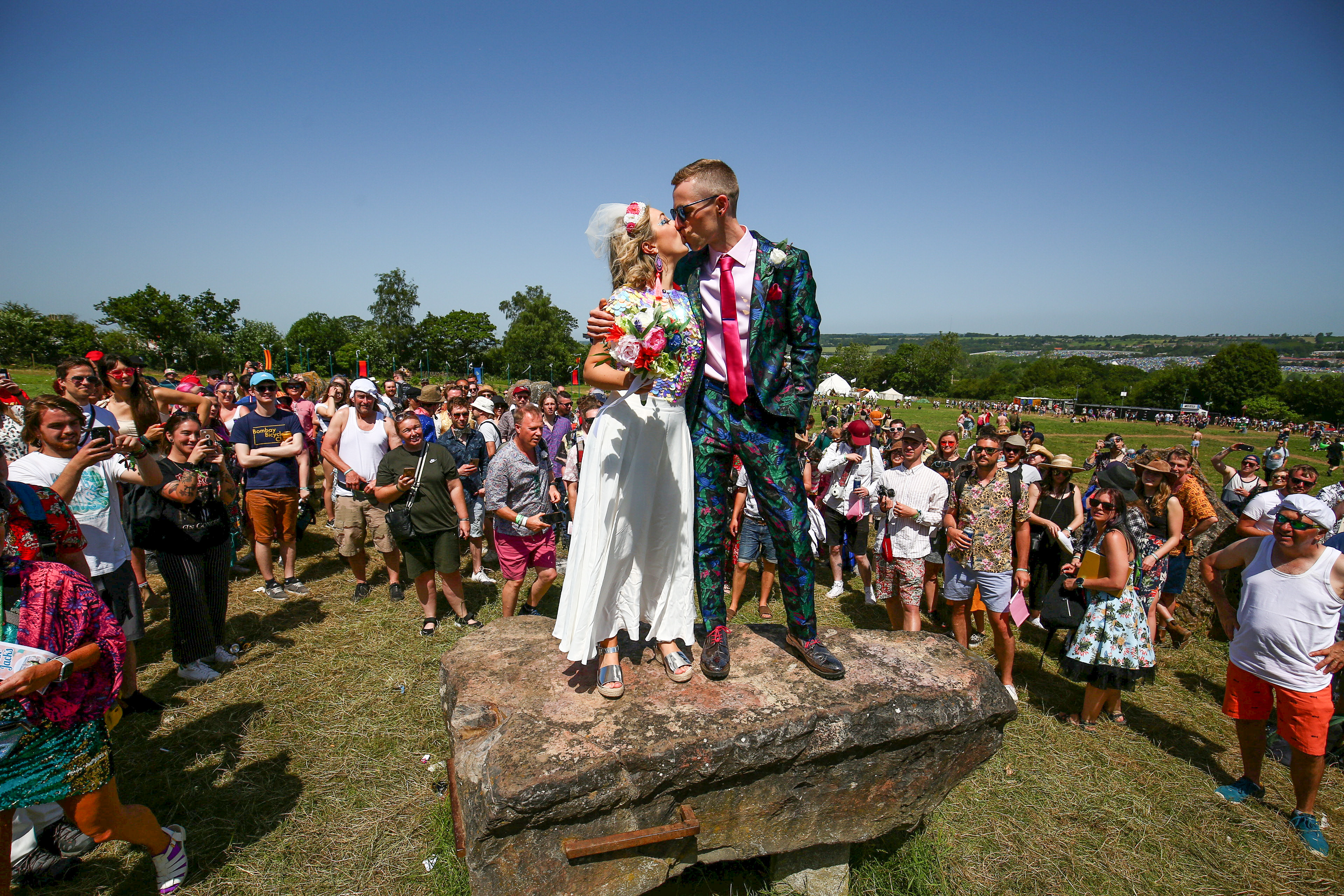 Sarah and Jack married today at Glastonbury. Credit: SWNS