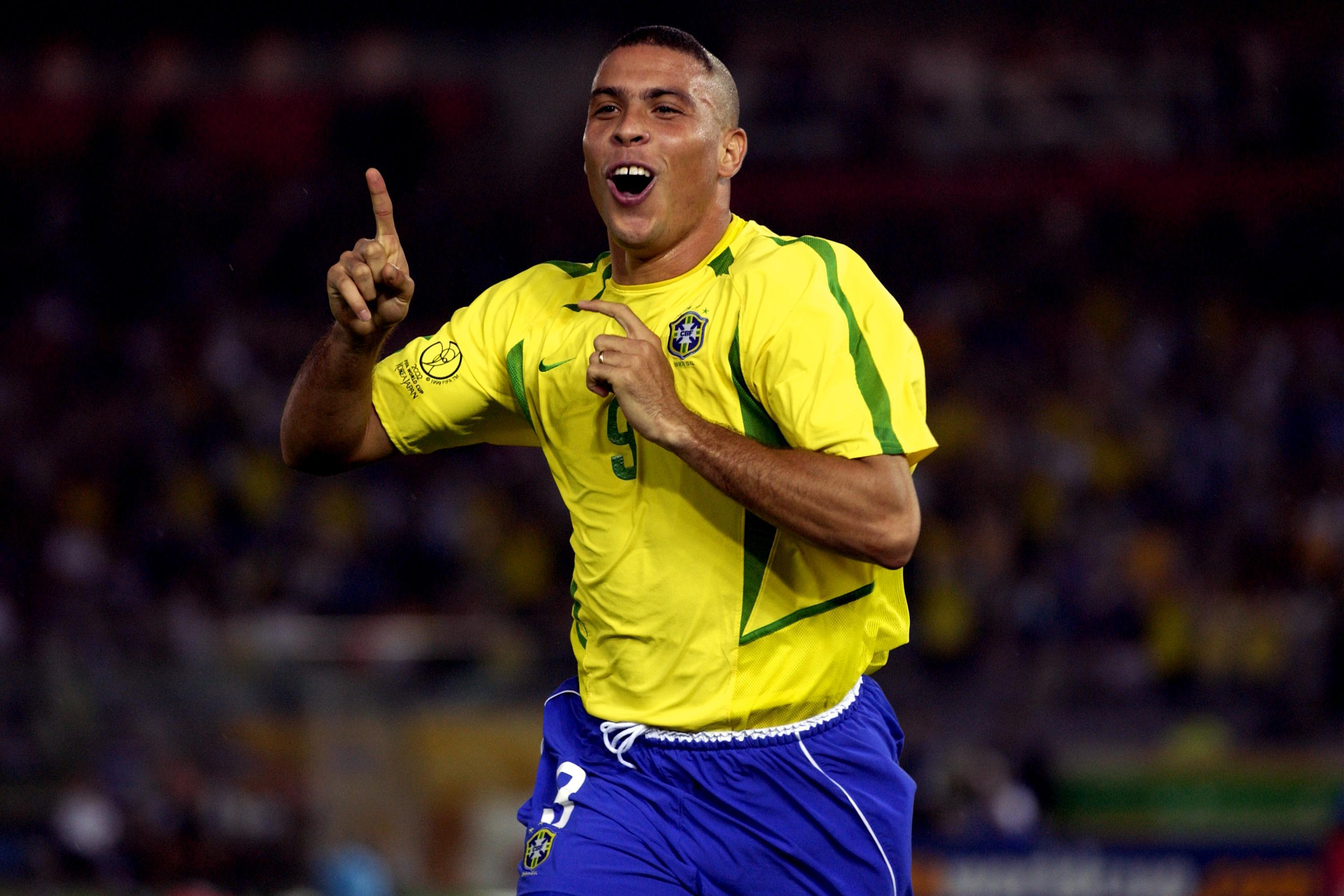 Ronaldo celebrates scoring his first in the 2002 final against Germany. Image: PA Images