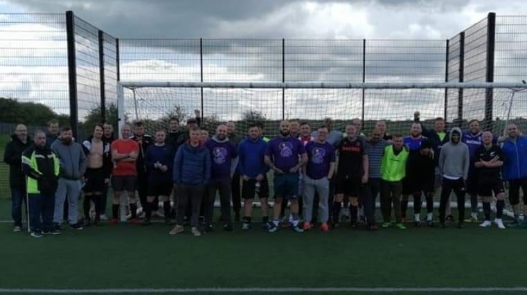 Almost 50 members of the group met up for a football match recently. Credit: Craig Spillane/LADbible