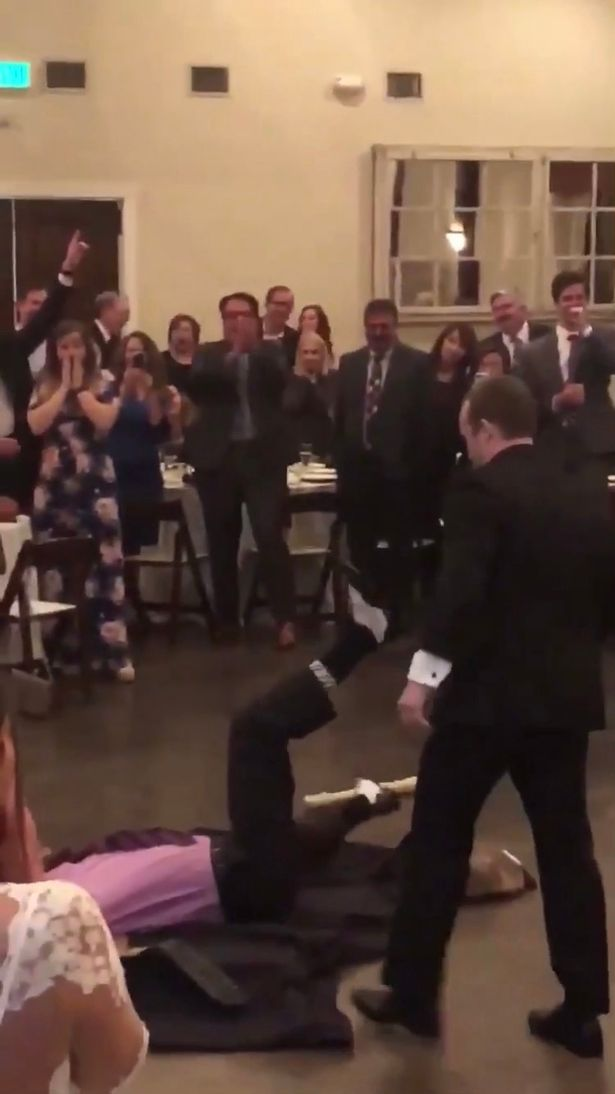 The cocky best man was eventually thrown through a table in true Undertaker style. Credit: Triangle News