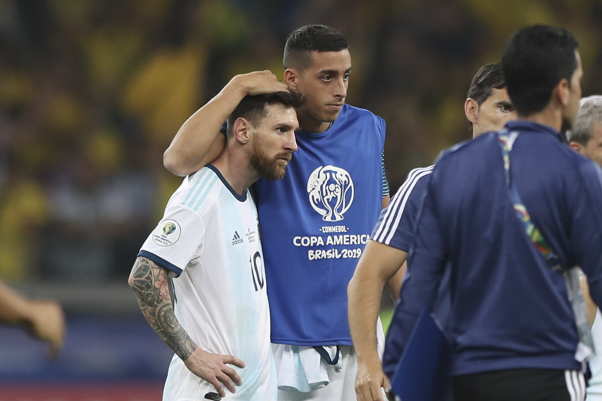 Messi consoled at the end of the Copa America semi-final. Image: PA Images