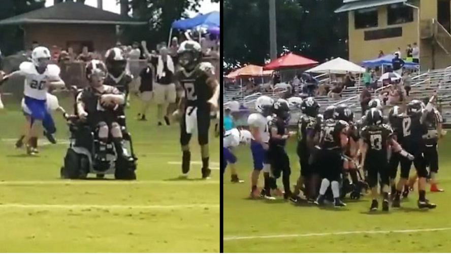 Amazing Moment Boy With Cerebral Palsy Achieves Dream Of Scoring A Touchdown