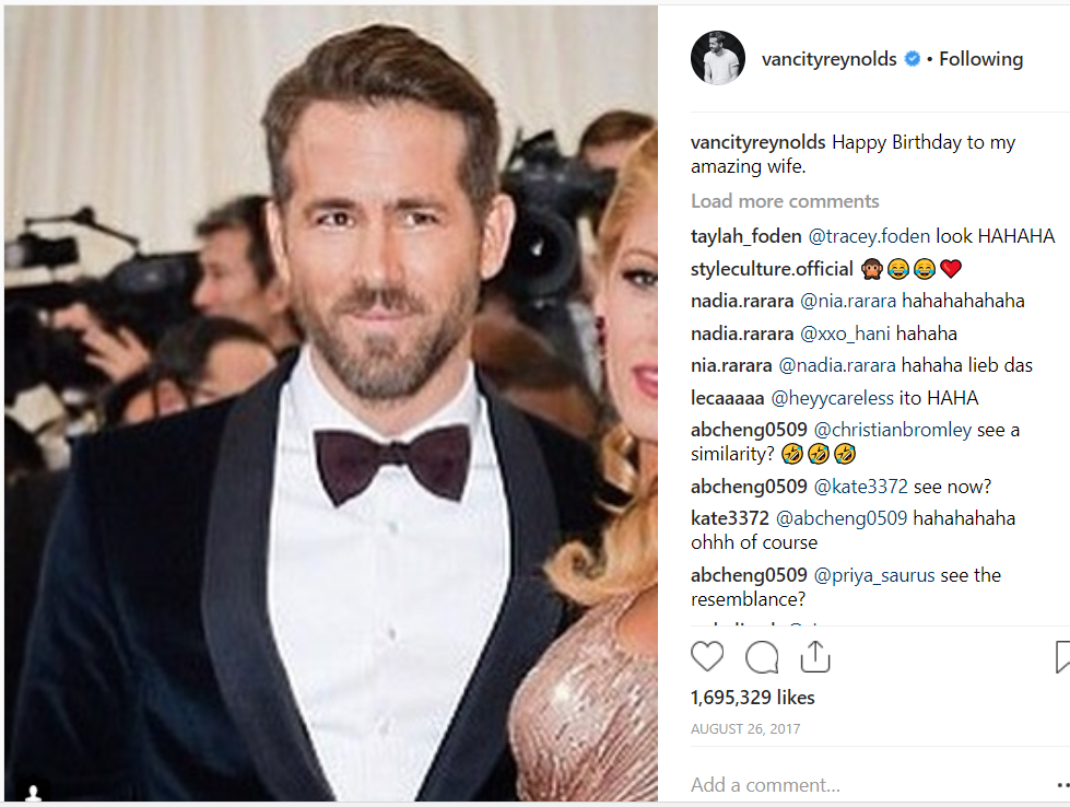Credit: Instagram/Ryan Reynolds