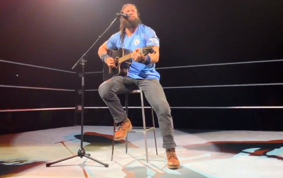 Boos echoed around the arena as he broke into his version of 'Yesterday'. Credit: WWE
