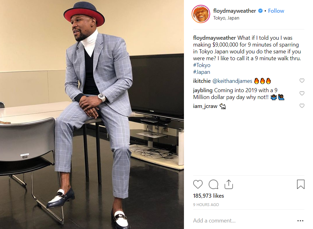 Floyd Mayweather's Insta-brag ahead of the big fight. Credit: Instagram