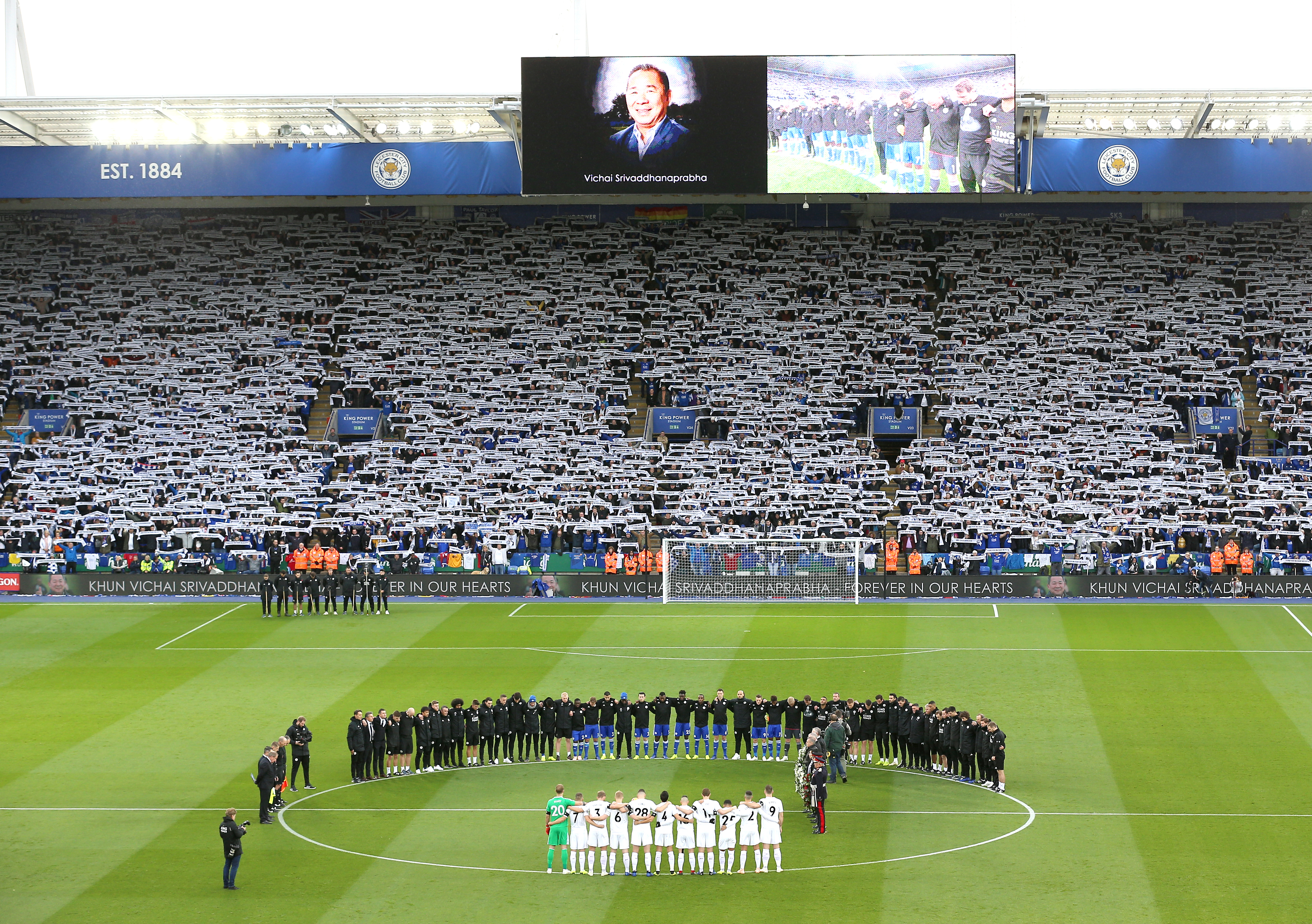 The club pay tribute to their owner ahead of the Burnley game. Image: PA Images