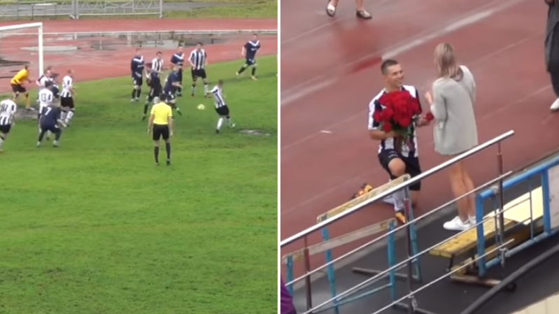 Russian Footballer Proposes To Girlfriend For His Goal Celebration