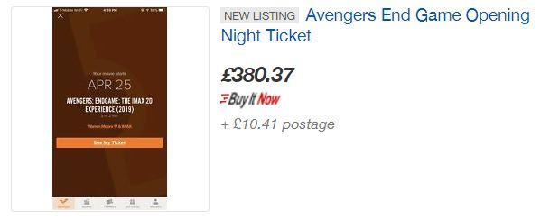 A ticket selling on eBay UK for £380. Credit: eBay