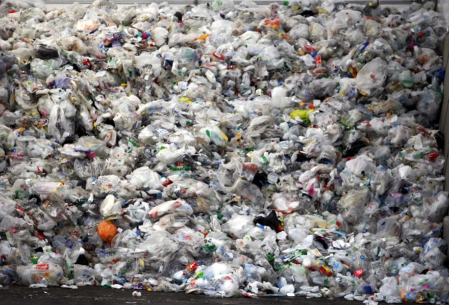 Pile of rubbish containing plastic bags at Springfield Recycling Plant, Essex. Credit: PA