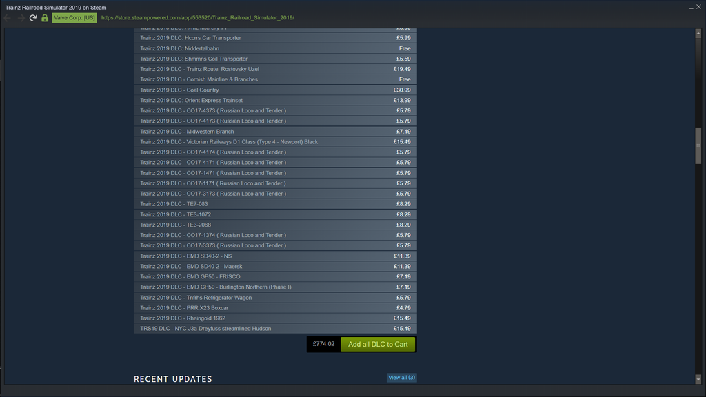If you've got £700 spare, why not buy some virtual trains? Credit: Valve