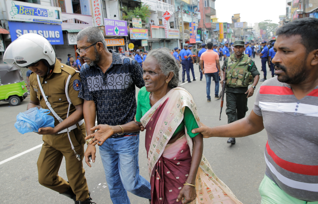 Scenes near St. Anthony's Shrine after a blast in Colombo. Credit: PA