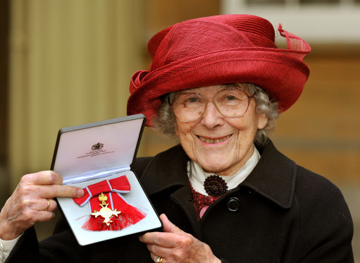 Judith Kerr proudly holds her Order of the British Empire (OBE) medal in 2013. Credit: PA