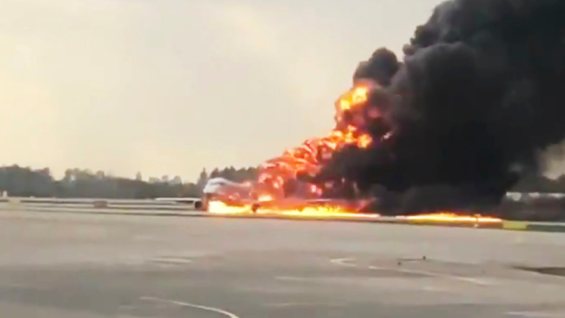 Footage Emerges Of Plane Crash Landing On Fire At Russian Airport