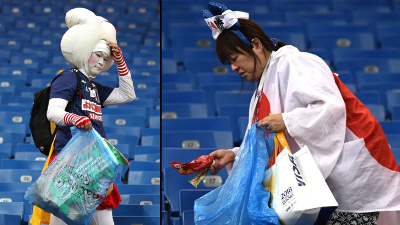 ​Japan Fans Stay Behind To Tidy Stadium After Being Knocked Out Of World Cup
