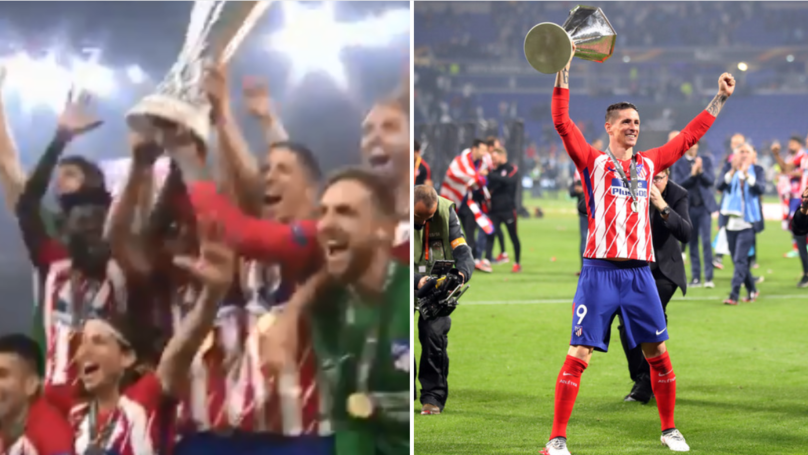 The Wonderful Moment Atletico Captain Gabi Lets Torres Lift Europa League Trophy With Him
