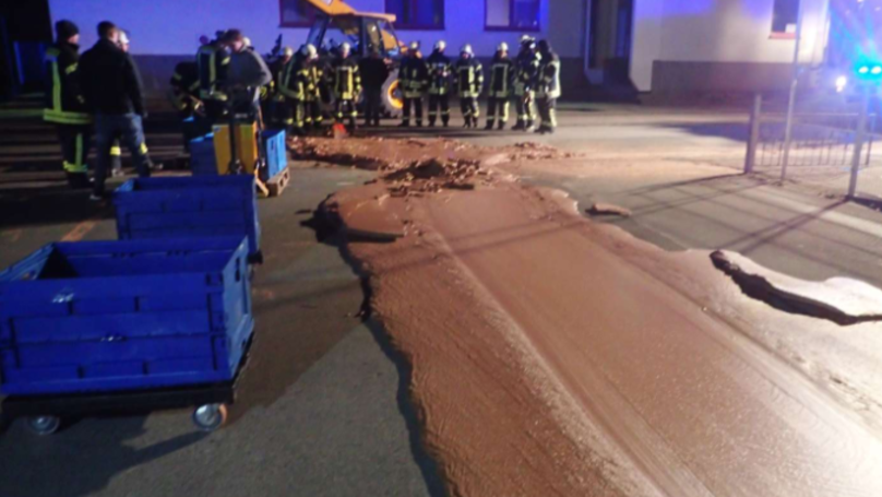 A Ton Of Chocolate Spills Out Onto The Road From Local Sweet Factory