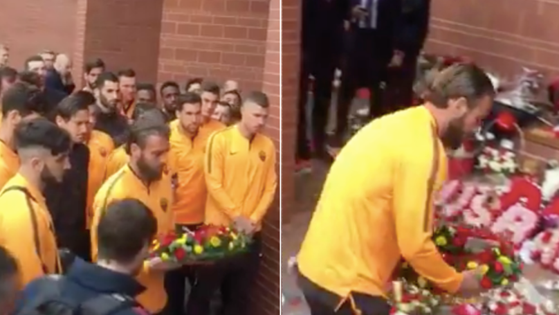 Daniele De Rossi Lays A Wreath At The Hillsborough Memorial On Behalf Of AS Roma