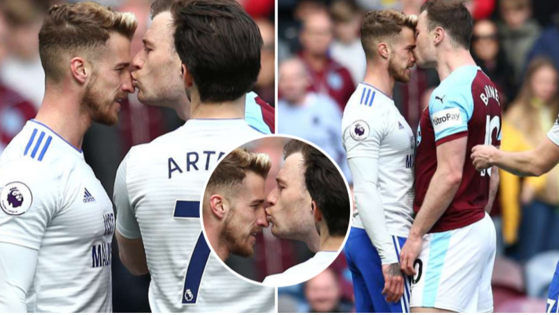 Burnley Striker Ashley Barnes Receives Yellow Card For Kissing Cardiff's Joe Bennett