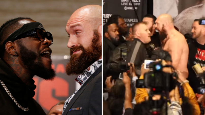 Tyson Fury Ends Up Topless After Heated Face Off Ends With Pushing