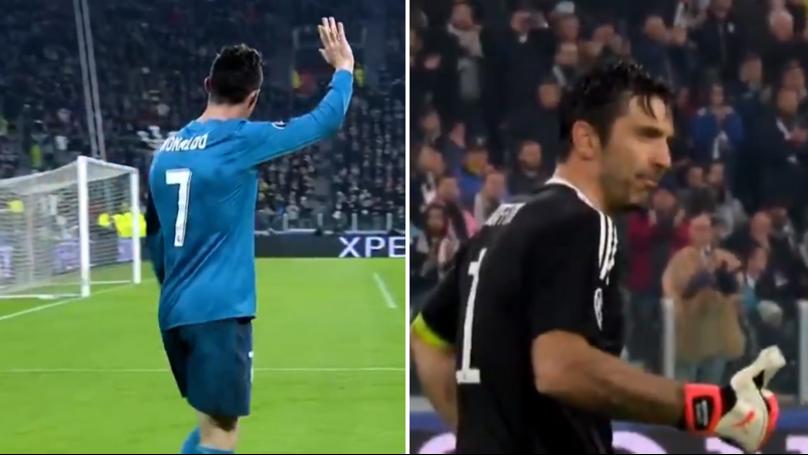 Gianluigi Buffon's Incredible Reaction After Being Beaten By Cristiano Ronaldo's Overhead Kick