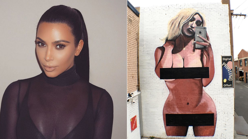 A Mural Of That Kim Kardashian Selfie Has Been Vandalised