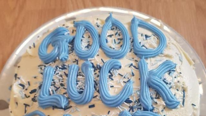 Mum Bakes Son A Good Luck Cake With Accidental Offensive Message