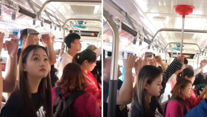 Woman's Solution To Being Too Short For The Handles On The Bus Is Genius