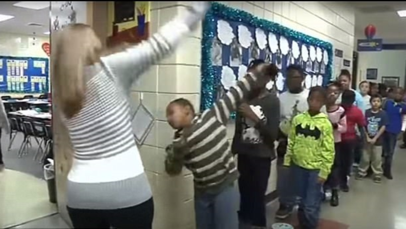 Teacher Has Individual Greeting For Every Single Kid In Class