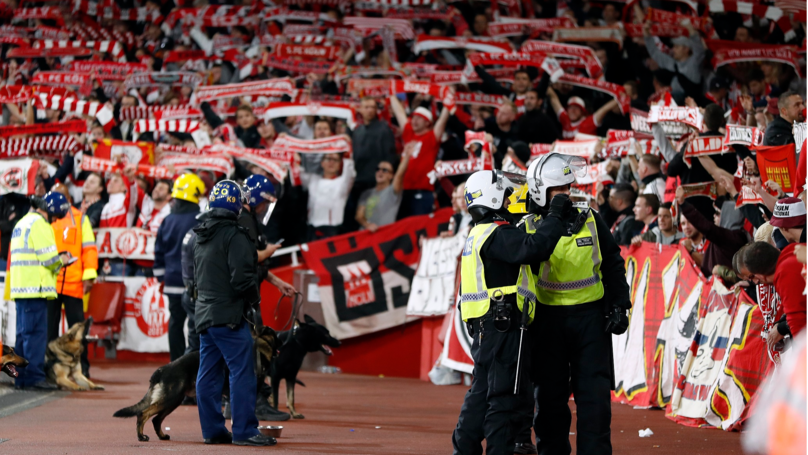 Crowd Trouble Delays The Start Of Arsenal v Koln In The Europa League
