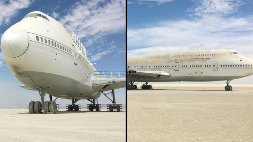A 747 Airplane Is Sat In The Nevada Desert After Burning Man Festival