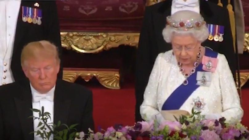 Donald Trump Appears To Catch Some Sleep During Queen's Speech At State Banquet