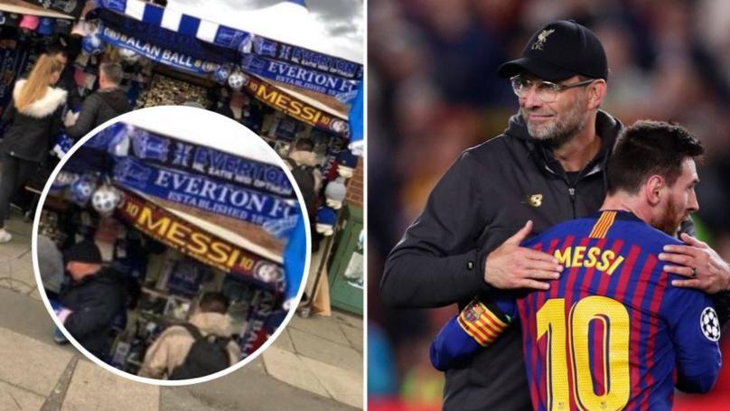 Lionel Messi Scarves On Sale Outside Everton Vs Burnley Game