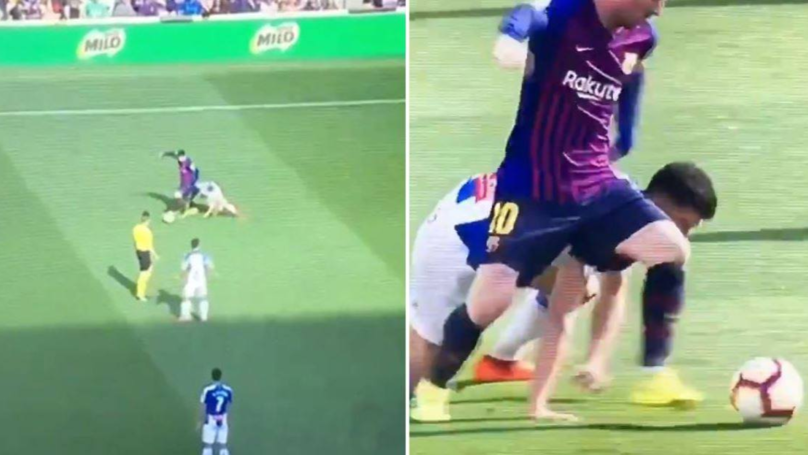 Lionel Messi Leaves Defender On The Floor Questioning Why He Became A Footballer