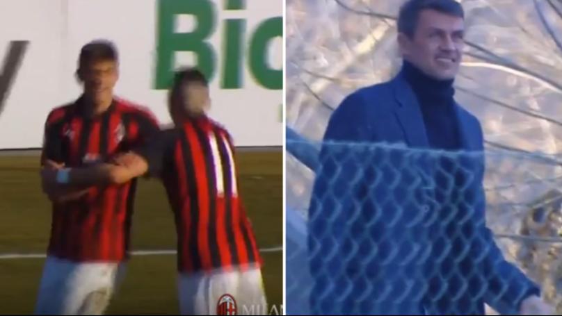 17-Year-Old Daniel Maldini Scored for AC Milan Primavera, With His Dad Watching On