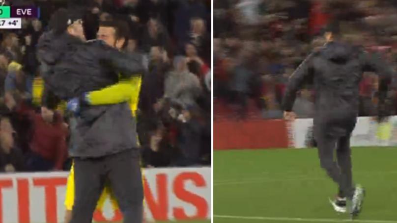 Jurgen Klopp Runs On To The Pitch To Celebrate After Divock Origi's Dramatic Winner Vs. Everton