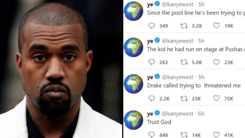 d8bc57f8ee Kanye West Goes On Long and Bizarre Twitter Rant Against Drake ...