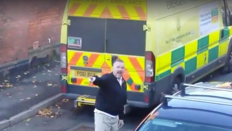 Shocking Footage Shows ​Paramedic Verbally Abused By Driver For Parking Ambulance In Street