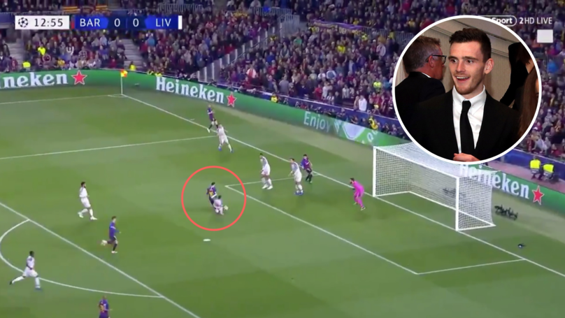 Andy Robertson Stops Lionel Messi From Scoring With A World-Class Tackle