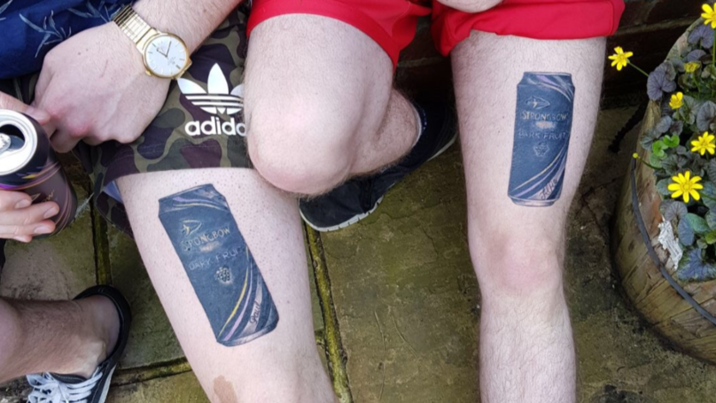 LADs Declare Their Love For Strongbow Dark Fruits By Getting Matching Tattoos