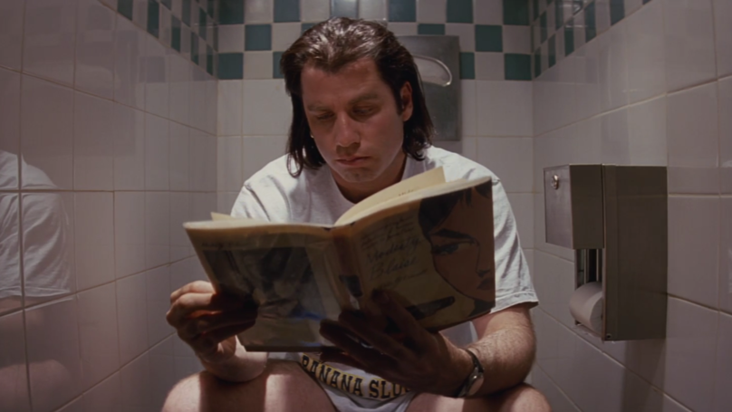 ​Someone Figured Out Why Vincent Vega Is Always On The Toilet In 'Pulp Fiction'
