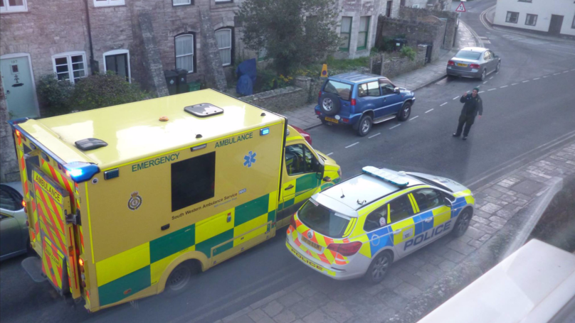 Police Car Blocks Ambulance On Emergency Call