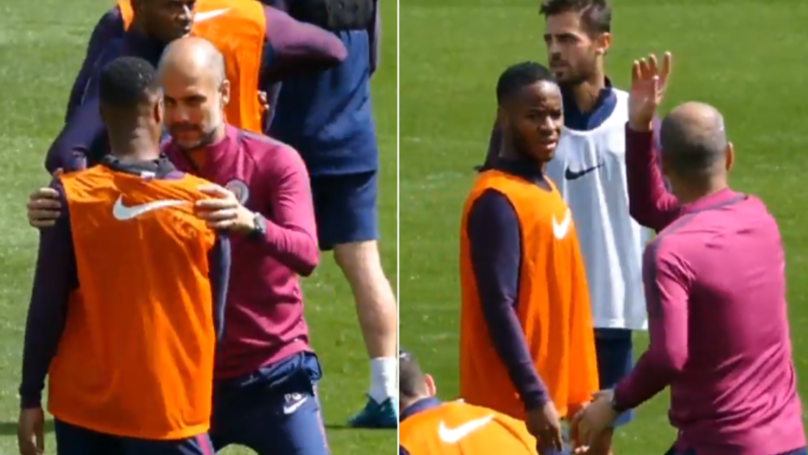 Pep Guardiola Coaching Raheem Sterling About Body Positioning Will Never Get Old